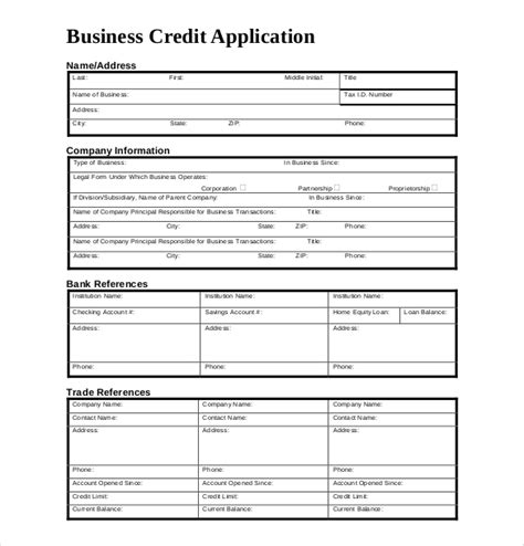 credit card application templates business credit application form business form templates