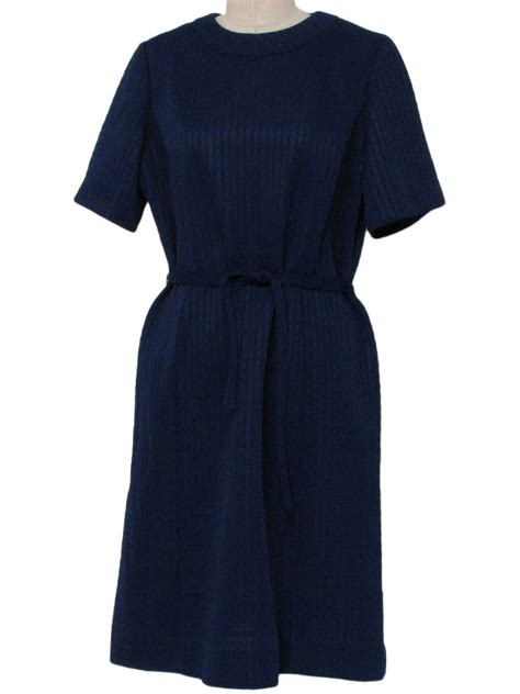 Knit Princess Dress Navy 70 s vintage dress 70s nelly don womens navy blue polyester knit sleeve mid length