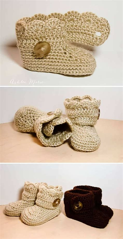 free button boats pattern crochet wrap around button baby boots girls and boys