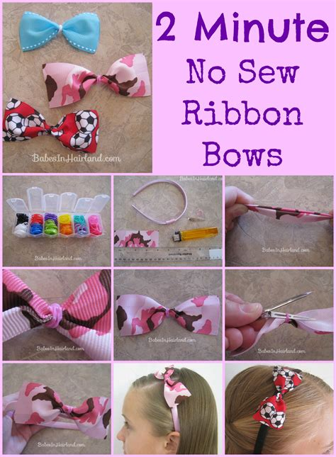 How To Make Hair Accessories At Home Easy by 2 Minute No Sew Ribbon Bows In Hairland