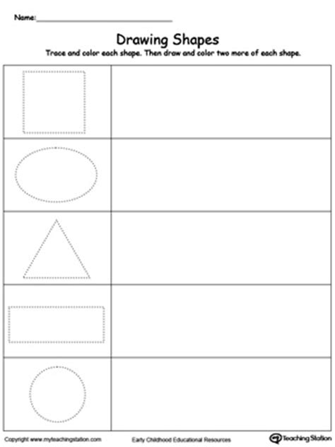R Drawing Shapes by Kindergarten Printable Worksheets Myteachingstation