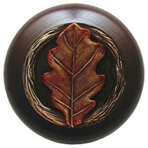 notting hill oak leaf walnut wood knob brass