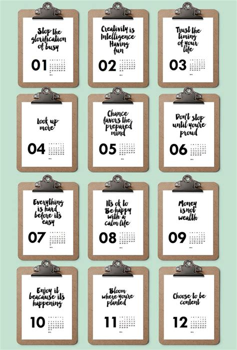 printable calendar quotes printable calendar black and white quotes 2016
