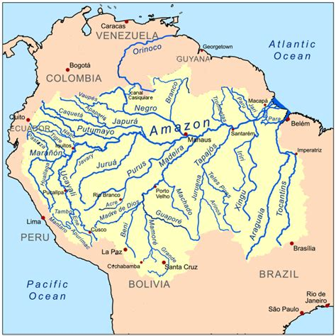 rivers of south america map map of rivers in south america