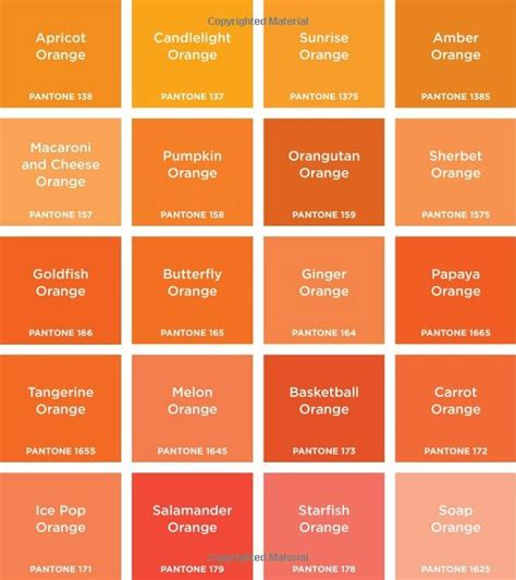 shades of orange color chart amazon com pantone colors 9781419701801 pantone