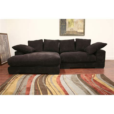 Baxton Studio Dark Brown Microfiber Sectional Sofa