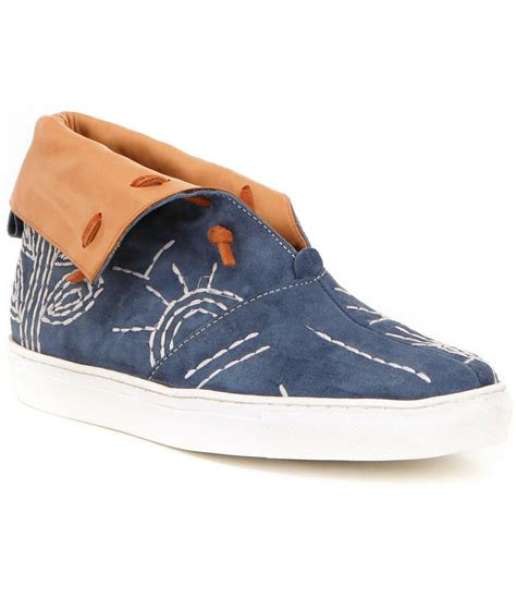fold sneakers lyst free gansvoort leather embroidered slip on
