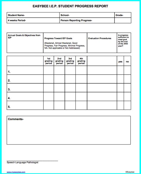 special education templates easybee iep progress report docs forms