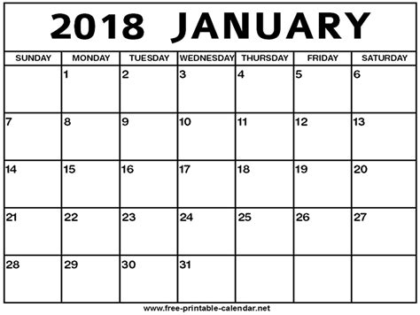 Calendar January January 2018 Calendar Pdf Printable Template With Holidays