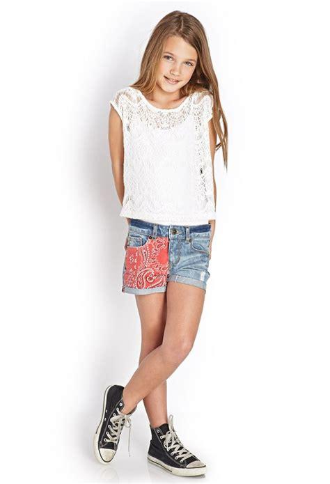 pinterest tween girl models bandana patch denim shorts kids forever21 girls
