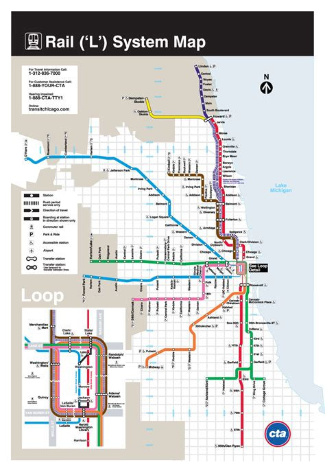 chicago l map l chicago metro map united states