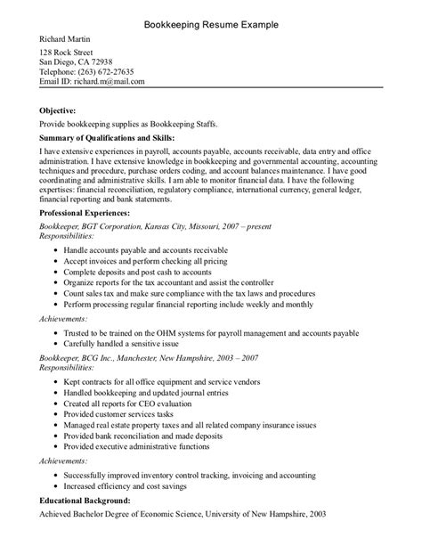 resume exles templates free sle format bookkeeper resume exles bookkeeper cover letter