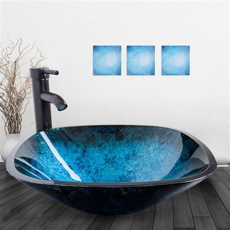 glass bowl vessel sink bathroom vessel sink drain faucet basin vanity glass bowl