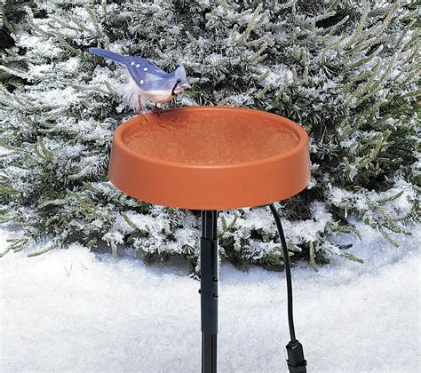 heated bird bath w metal stand