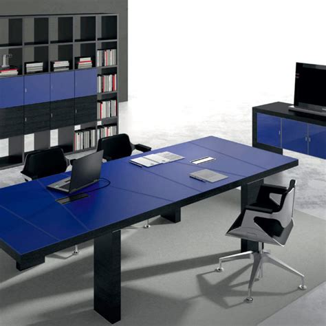 Black Contemporary Modern Blue Leather Desk Ambience Dor 233 Black Modern Desk