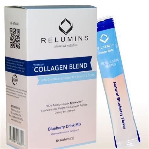Gluta Green relumins premium collagen blend 10 sachets 100 premium grade actumarine collagen with