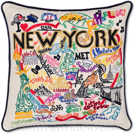 Handmade New York - handmade new york city embroidered geography pillow