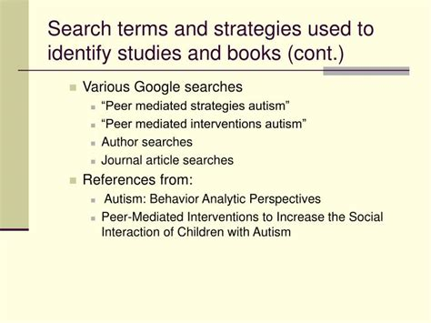 user search terms needed books ppt a research review of the use of peer mediated