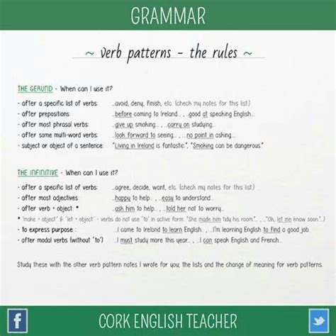 verb pattern with the gerund 27 best verb lists infinitives and gerund images on