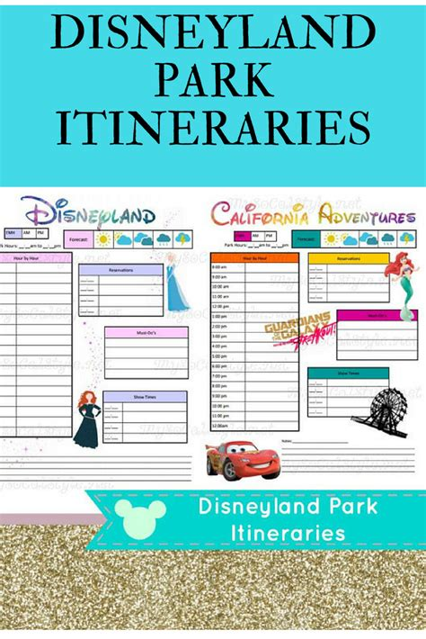 Downloadable Itinerary Templates For Disneyland And California Adventure Commissionlink Disney World Itinerary Template