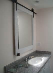 mirror bathroom door modern barn door with frosted glass for light and will