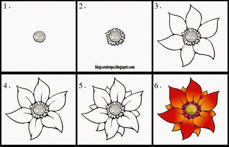 contoh gambar bunga  mudah   menggambar flora