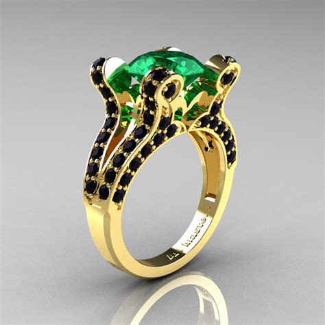 vintage 14k yellow gold 3 0 ct emerald black