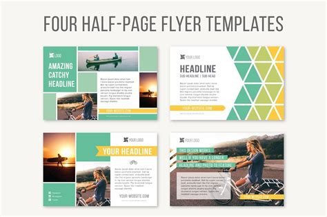 Pages Flyer Templates Four Half Page Flyer Templates Templates Creative Market