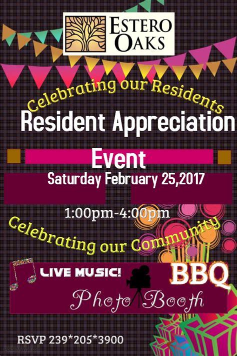 Estero Oaks Resident Appreciation Event Tickets Sat Feb 25 2017 At 1 00 Pm Eventbrite Resident Appreciation Week Flyer Template