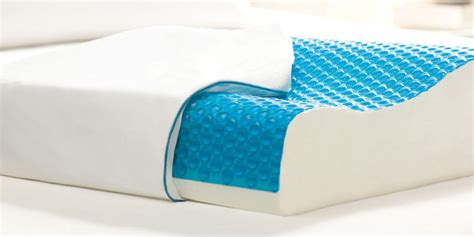 contour neck shoulder blue gel memory foam curved pillow