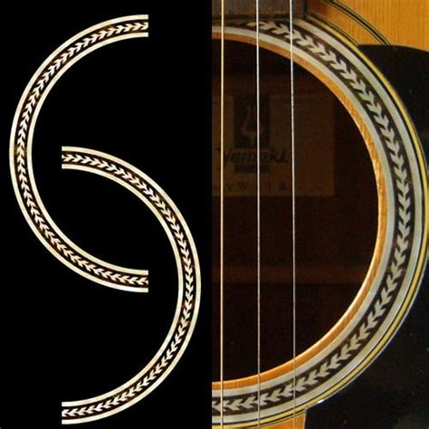 printable guitar stickers rosette herringbone purflinng sound hole inlay sticker