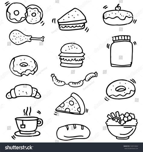doodle food vector doodle food drink object vector stock vector 530916064