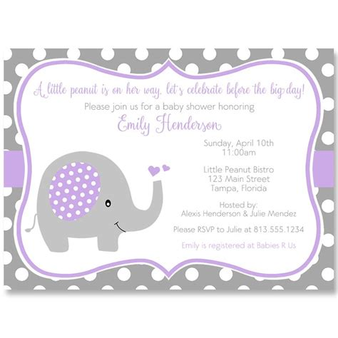 Pink And Purple Baby Shower Invitations by 42 Best Baby Shower Elephant Invitations Images On