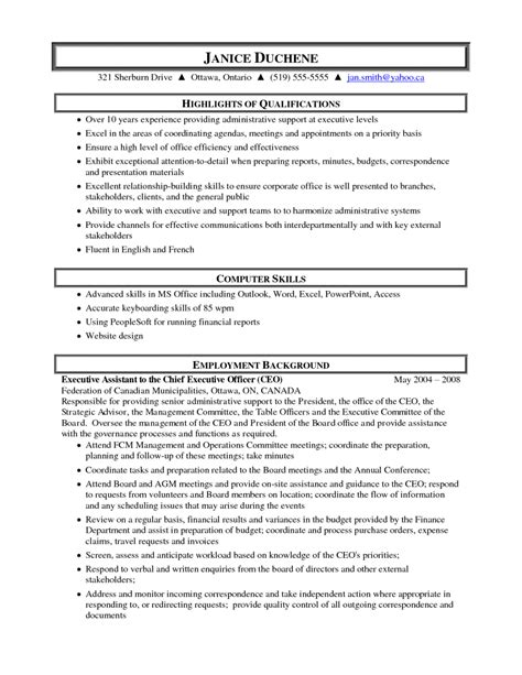 administrative assistant resume objective sle sle resumes administrative assistant exle of
