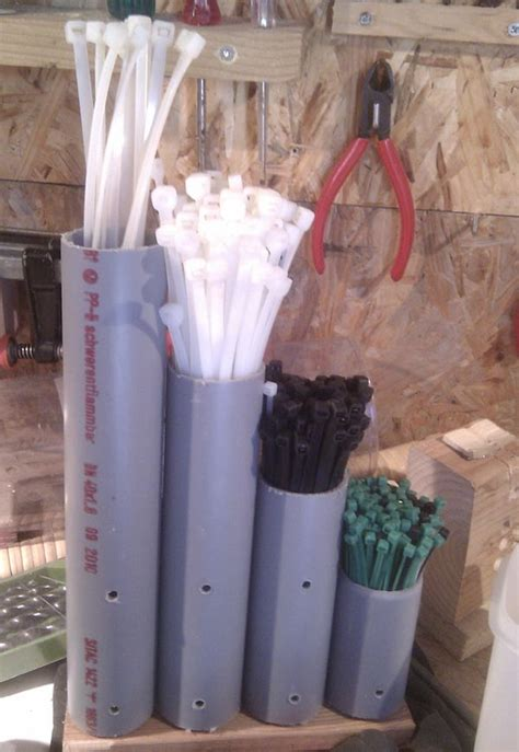 clever cable tie organizer   pvc pipe