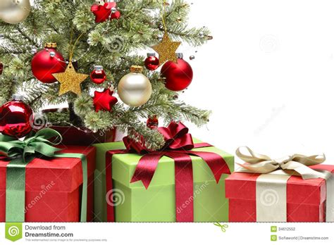decorated christmas tree and gifts stock photo image