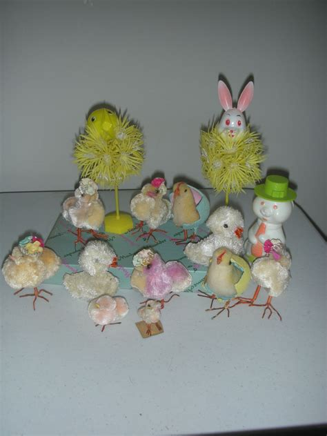 Vintage Easter Figurine Shop Collectibles - vintage easter chenile chickens with toys and