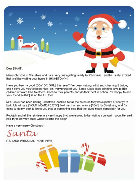 free printable personalised letter from santa template free letters from santa santa letters to print at home