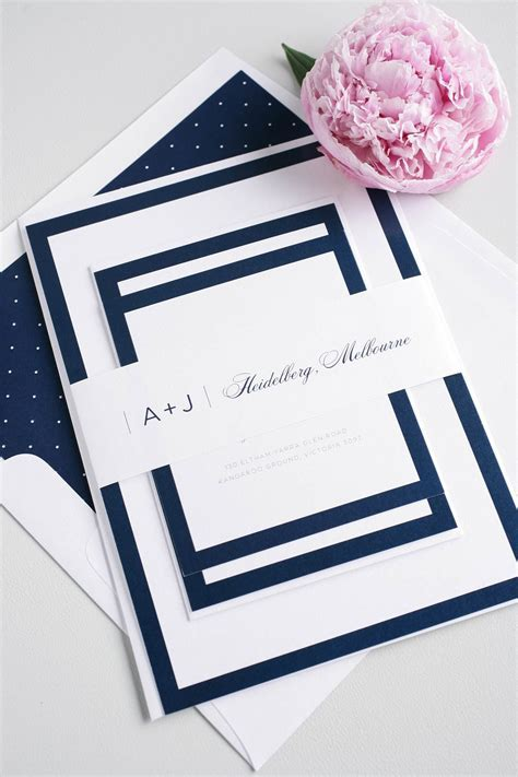 Sophisticated Navy Wedding Invites   Member Board