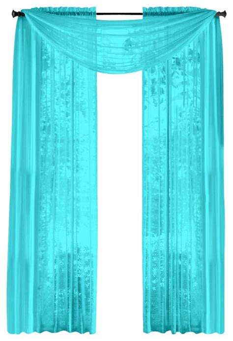 Aqua Sheer Curtains Hlc Me Pair Of Sheer Panels Window Treatment Curtains Aqua Blue Traditional Curtains By