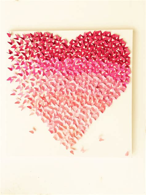 Decor Brushes by Butterfly Heart Pink Ombre Canvas Handmade Art Wall