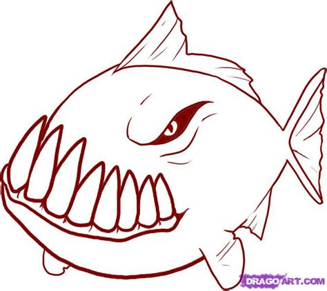 coloring pages flatfish how to draw a piranha step by step fish animals free