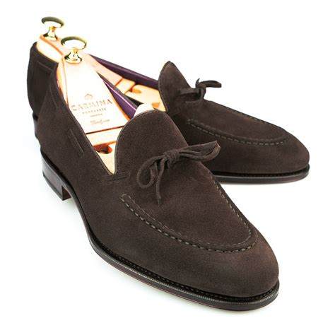 brown suede loafer string loafer in brown suede