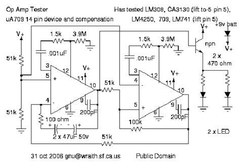 transistor vs op sn72709 ua709 lm301 lm308 lm4250 ca3130 lm741 op tester