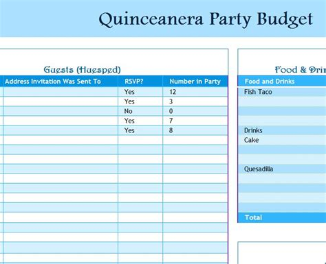 free printable quinceanera planner quinceanera party budget my excel templates