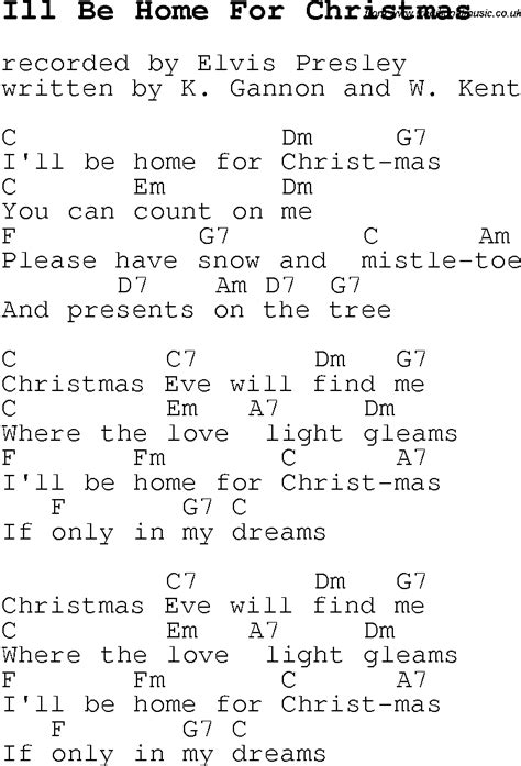christmas carol song lyrics with chords for ill be home