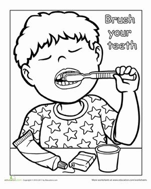 dental coloring pages for kindergarten words to live by brush your teeth worksheet education com