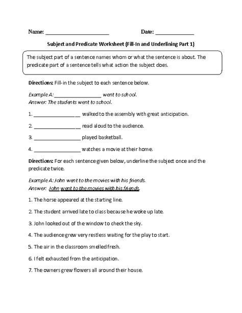 Subject And Predicate Practice Worksheets by Subject And Predicate Worksheet Fill In And Underlining