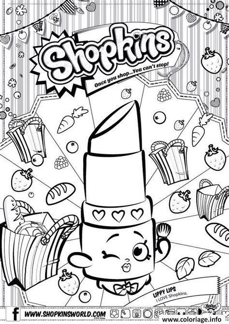 shopkins coloring pages lipstick coloriage shopkins lippy lips dessin