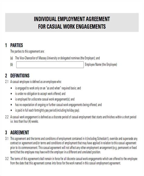 casual employment contract template 12 sle employment agreement free sle exle